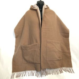 Coach Wool Blended Hoodie Pocket Shawl Cape Scarf